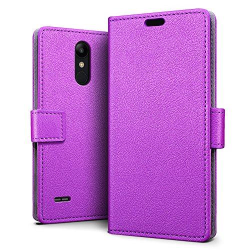 SLEO LG K9/LG K8 2018 Hülle, PU Leder Case Tasche Schutzhülle Flip Case Wallet im Bookstyle für LG K9/LG K8 2018 Cover - Lila