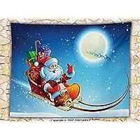 Decoraciones de Navidad Papá Noel manta de forro polar de ensueño mágico cielo estrellado Luna Llena