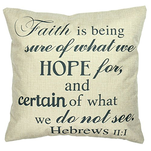 Luxbon Sprichwort Leinen Kissenbezug Lendenkissen Wurfkissenbezug Pillowcase Cafe Haus Auto Deko 45 x 45 cm faith is being sure of what we hope for and certain of what we do not see Heb 11:1