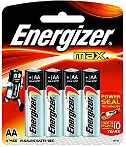 Energizer MAX Alkaline Battery E91BP4 AA - Total 4 AA Batteries
