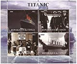 Titanic timbres pour les collectionneurs. Du navire, l'équipage et la feuille de collection de catastrophe avec 4 timbres / Congo / 2012