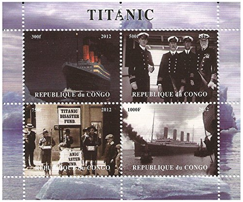 Titanic stamps for collectors  The ship  the crew and the disaster collectable sheet with 4 stamps   Congo   2012