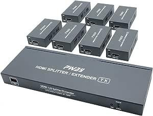 Pw Ht226p7 Poc 1x7 Port Hdmi Extender Splitter Verteiler Ultra Hd 1080p Ohne Verzögerung 165ft 50m