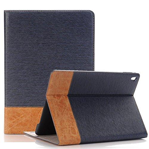 Preisvergleich Produktbild Galaxy Tab A 9.7 Tasche, elecfan® Flip Folio Book Cover Hülle Tasche Case Bookstyle mit Standfunktion,Multi Function Schutzhülle für Samsung Galaxy Tab A 9.7 (Tab A 9.7, Dunkelblau)
