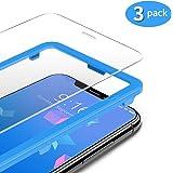 TAMOWA (3-pack skärmskydd för iPhone 11 Pro/iPhone X/iPhone XS, premium härdat glas 9H skottsäker film med installationsram,