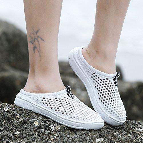 Xing Lin Chaussures DÉté Hommes La Moitié DÉté Homme Chaussures Trou Chaussons Creux Respirant Chaussures De Plage Occasionnels Pantoufles Marée Hommes Couples Sandals ZL-898 white