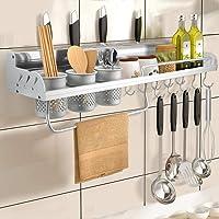 Étagère à épices 70 cm - En aluminium - Multifonctionnel - Pour cuisine et salle de bain - Avec 10 crochets et 3 fentes…