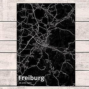 Mr. & Mrs. Panda Postkarte Stadt Freiburg Stadt Black - Stadt Dorf Karte Landkarte Map Stadtplan Postkarte, Postkarten, Einladungskarte Karte, Geschenkkarte, Brief, Kärtchen, Geschenk, Fan, Fanartikel, Souvenir, Andenken, Fanclub, Stadt, Mitbringsel