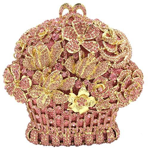 Sposa Pochette Donna Sera Borsetta Portafoglio Partito Cerimonia Borsa Spalla Frizioni Eleganti Giardino di Cesto di Fiori Rosa Pink