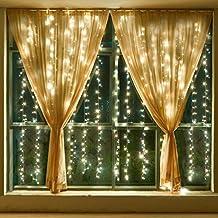 WolfWise Tenda Catena Luci Natalizie 300 LED (3m x 3m) 8 Modalità Con Controllo Funzione di Memoria Ideale per Decorazione Natale/Matrimoni/Feste per Uso Esterno e Interno (Bianco caldo)