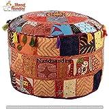 Indische traditionelle Baumwolle Runde Ottoman Kissen Pouf Cover / böhmischen handgefertigten Patchwork Boden Hocker für Sofa Couch / Vintage ethnischen Designer Stickerei Hocker Ottoman