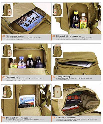 FLYHAWK Taktisch Molle Rucksack, Super Gross Outdoor Wasserdicht Reisetasche Gear für Laptop, 70L-85L, 4 Farben S408-Schwarz