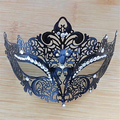 Frau Maskerade Maske Halloween Weihnachten griechische Party Maske Karneval Maske Metall Maske, schwarz, (Frau Ziemlich Zombie Maske)