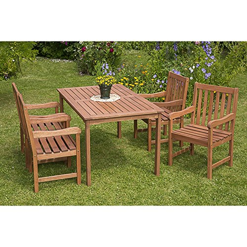 Gartenmöbel-Set Palermo 5-tgl. Eukalyptusholz, mit Sessel und Tisch