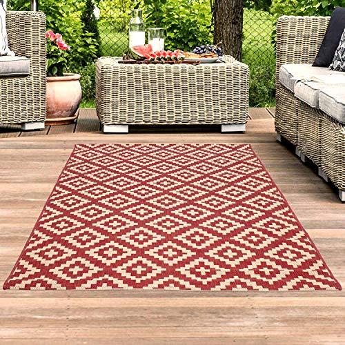 Outdoor-rot-teppich (carpet city Outdoor-Teppich Wetterfest Balkon Terrasse Modern Geometrisches Muster in Rot; Größe: 120x170 cm)