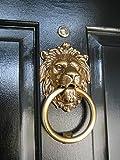 #3: Collectible India Brass Lion Mouth Door Knocker Antique Victorian Ring Door Handle