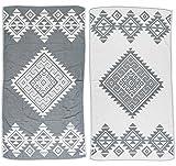 Bersuse 100% Cotone - Asciugamano Turco Yucatan - Doppio strato - Peshtemal Fouta per Bagno e Spiaggia - Pestemal tessuto a mano con Design Mandala - 100X180 cm, (Grigio Argento)