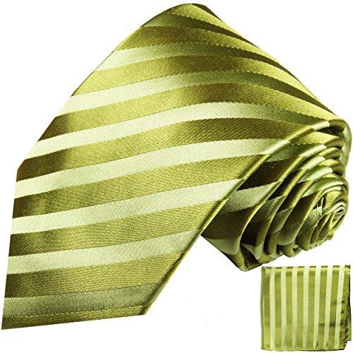 Cravate vert rayé ensemble de cravate 2 Pièces ( 100% Soie Cravate + Mouchoir )
