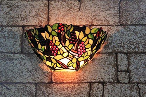 Broncos 12 pouces Vintage Pastoral Vitrail Tiffany Grape Applique Couloir Applique murale Lampe Mobilier