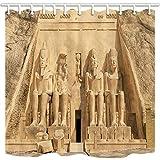 GoHEBE Cortinas de ducha egipcias para baño, gran templo en Egipto, tela de poliéster impermeable, ganchos para cortina de ducha incluidos, 180 x 180 cm