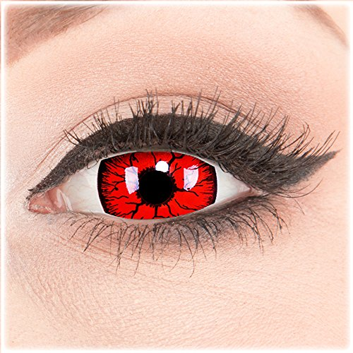 (Farbige Mini Sclera Halloween Kontaktlinsen 'Metatron' - 17mm MeralenS Horror Lenses inkl. Behälter - 1Paar (2 Stück))