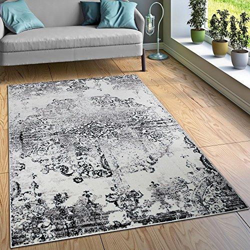 Paco Home Designer Teppich Wohnzimmer Teppiche Ornamente Vintage Optik Schwarz Weiß, Grösse:120x170 cm