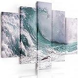 Feeby Frames, Quadro multipannello di 5 pannelli, Quadro su tela, Stampa artistica, Canvas (ONDA, BLU, VERDE) 100x200 cm, Tipo A