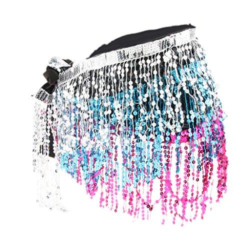 MagiDeal Damen Strandgürtel Bauchtanz Hüfttuch Tanztuch Pailletten Quasten Rock Gürtel Bauchtanztuch Samba Belly Dance Kostüm - Silber, - Samba Dance Kostüm