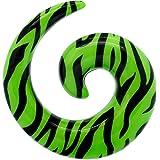 tumundo Pezzo o Set di 6 Dilatatore Spirale Taper Tunnel Piercing 3 4 5 6 8 10mm Orecchio Zebrato Verde Acrilico