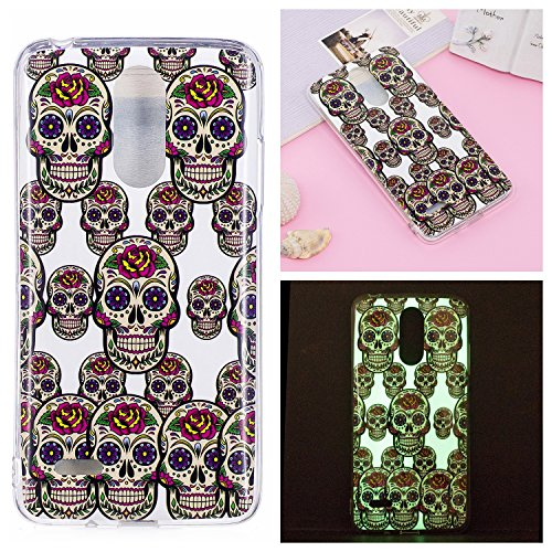 Galleria fotografica Mokyo LG K8 2017 Case,Luminous Effect Noctilucent Silicone Cover Night Glow in The Dark Shockproof Ultra Thin Soft TPU Gel Bumper Case with [Free Stylus Pen] Creative Colourful Pattern Printed Design Flexible Fluorescent Rubber Anti-Scratch Protective Jelly Skin Back Cover Shell for LG K8 2017 - Skull