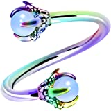 OUFER Twist Helix Earring 316L Stainless Steel Dragon Claw with Opalite Center 16G Twist Lip Labret Belly Bars Cartilage Earr
