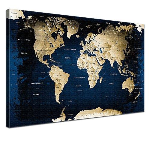 LanaKK Midnight - Canvas Art Print on Stretcher Frame (Pre-Framed) - World Map [German Language], blue, 100 x 70 cm, 1-piece