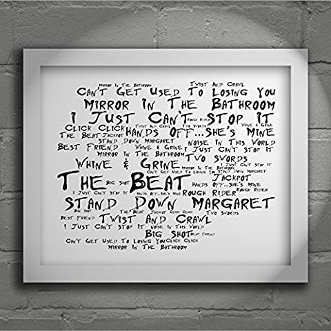 'Noir Paranoiac` Poster Affiche d'art - THE BEAT - I Just Can't Stop It - Edition signée et numérotée limitée typographie non encadré 20 x 25 cm la musique album mur art haute qualité d'impression - Song lyrics music poster