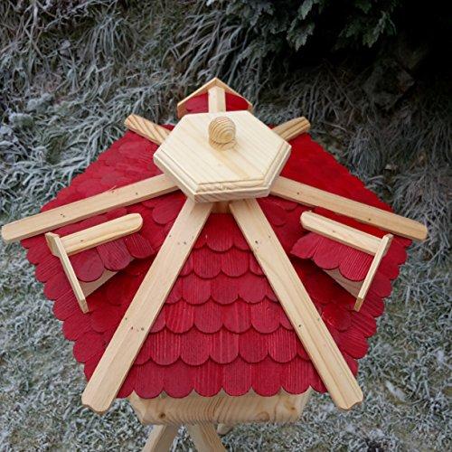 Qualitäts Vogelhaus mit Holzschindeln 6 Eck lasiert Vogelhäuser-Vogelfutterhaus großes Vogelhäuschen-aus Holz Wetterschutz (Rot) - 2