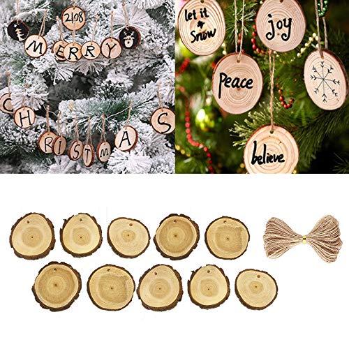 TAOtTAO Exquisite Pendant 10pcs Holz Weihnachtsbaum Hängende Verzierung Holz Scheiben DIY Kunst Handwerk Geschenk Tags