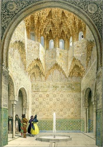 Muslimischen Bilder Kostüm - Posterlounge Acrylglasbild 30 x 40 cm: Die Halle der Abencerragen, Alhambra, Granada, 1853 von Léon Auguste Asselineau/Bridgeman Images - Wandbild, Acryl Glasbild, Druck auf Acryl Glas Bild