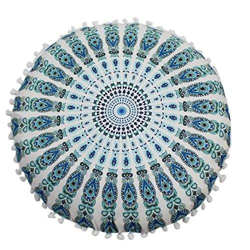 Kavitoz Indian Mandala Floor Pillows Round Bohemian Cushion Pillows Cover Case Cushions (G)