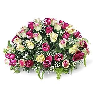 Ligne Déco 484904WO - Composizione di fiori artificiali funebri, in vaso zavorrato, con 65 rose e gisofila, 30 cm