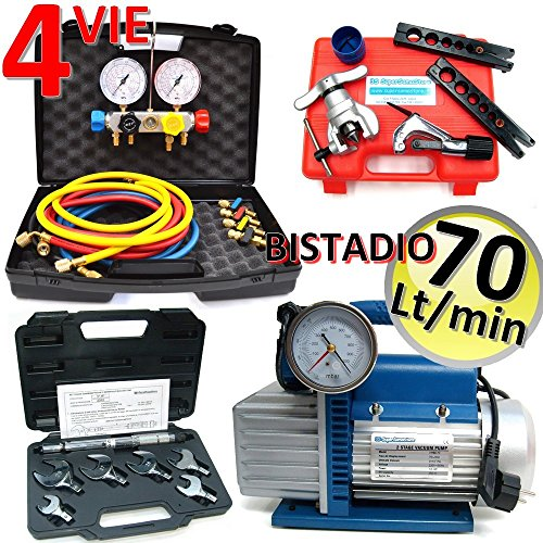 Kit professionale condizionamento - pompa 70 Lt set manometri 4 vie - pompa bistadio - (Attacchi Su Corpo Elettrovalvola)