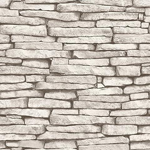 I Love Wallpaper™ Slate Effect Wallpaper Cream / Taupe