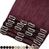 Extension a Clip Cheveux Naturel - 100% Cheveux Humain Remy Rajout Vrai Cheveux Naturel (#99J Vin rouge, 25cm-70g)