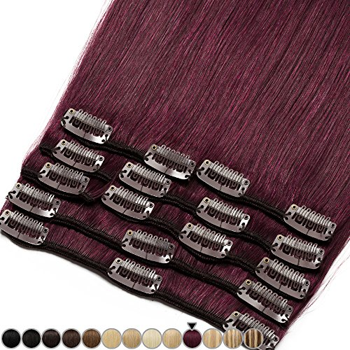 Extension capelli veri rossi clip 8 fasce remy human hair full head xl set lisci lunga 10 pollici 25cm pesa 75grammi, #99j vino rosso