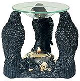 Duftschale 3 Raben mit Totenköpfen Dekofigur Gothic Wellness Mystik Duftlampe