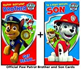 Paw Patrol Son and Brother Birthday Card set