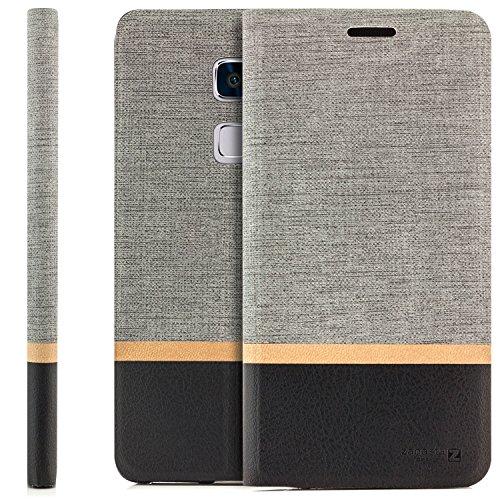 zanasta Designs Tasche Huawei Mate S Hülle Flip Case Schutzhülle Handytasche mit Kartenfach Grau