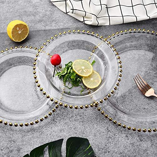 XOSHX (3 Stücke Set) Weihnachten Phnom Penh Glasperlen Tablett Transparente Glasperlen Obst Kuchen Western Plate Gold Plate (Mit Trim Kunststoff-platten Gold)