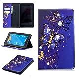 Slynmax Schutzhülle für Amazon Fire 7 2017 Flip Folio Notebook Stil Premium Leder Wallet Case L violettfarbener schmetterling