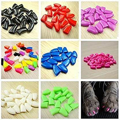 Qiao Niuniu New 20Pcs/Lot Colorful Soft Pet Dog Cats Kitten Paw Claws Control Nail Caps Cover #apowu522# (color: Red… 5