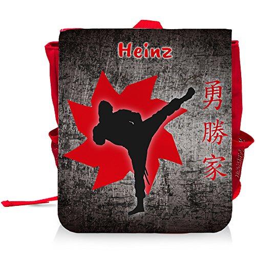 Kinder-Rucksack mit Namen Heinz und Fighter-Motiv für Jungen