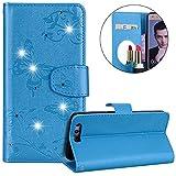Surakey Coque Huawei Honor 9,Fleur de Papillon Motif Cristal Glitter Strass PU Cuir Case à rabat Coque Portefeuille Housse Flip Wallet Case Magnétique Étui pour Huawei Honor 9, Bleu